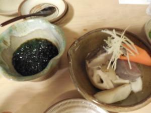 カワタケノリの酢の物と、がめ煮
